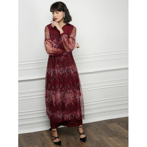 All About You Maroon Printed Kurta