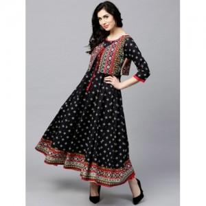 AKS Women Black & Off-White Printed Anarkali Kurta with Ethnic Waistcoat