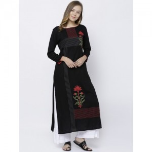 Vishudh Women Black Printed Straight Kurta