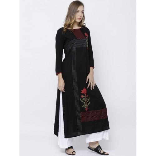 Vishudh Women Black Printed Straight Kurta