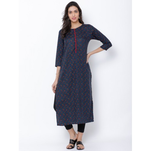 e5c9cad1c93 Buy Vishudh Women Navy Blue   Red Printed Straight Kurta online ...