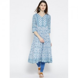 Rangriti Women Blue & White Printed Anarkali Kurta