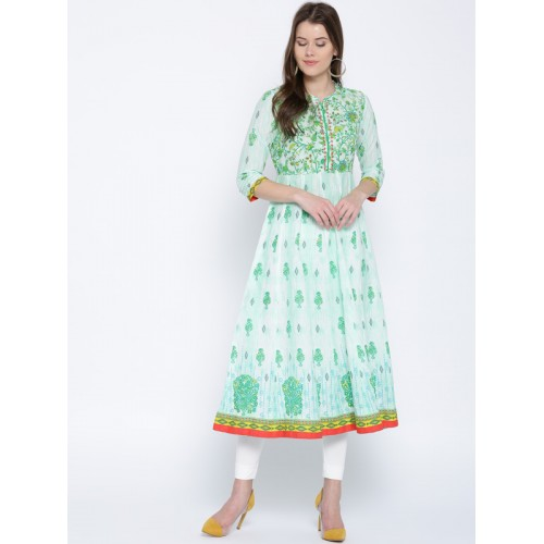 Rangriti Women Green Printed Anarkali Kurta