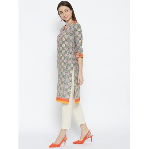 Rangriti Women Off-White & Black Printed Straight Kurta
