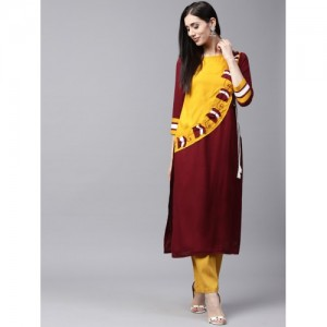 AKS Women Maroon & Mustard Yellow Colourblocked Panelled Straight Kurta