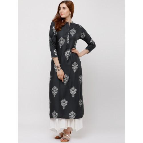 7d4656ffbdf8 Buy Vishudh Grey Viscose Printed Straight Kurta online | Looksgud.in