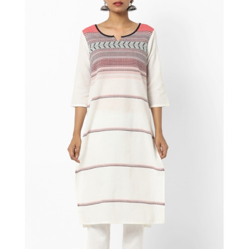AURELIA Women White Striped Straight Kurta