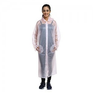 REXBURG New Stylish Monsoon Long Women's Rain Coat, Absolute Comfortable and Made with 100% Water Proof Material. (Pink- M)- Chest - 48, L-48.
