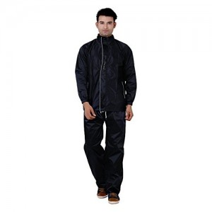 REXBURG Supreme quality Men's Rain Coat (Black), absolute comfortable and made with 100% Water Proof material. (XXL Size) (TOP=L-30,CHEST-50