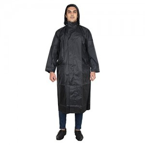REXBURG Stylish Long Monsoon Rider Men's Rain Coat (Black), absolute comfortable and made with 100% Water Proof material