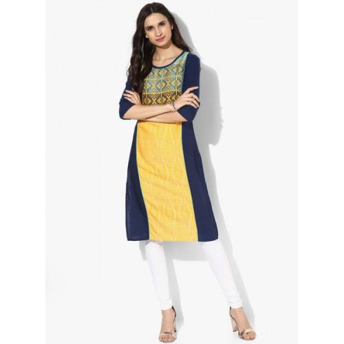 Aurelia Yellow & Navy Embroidered Rayon Kurta