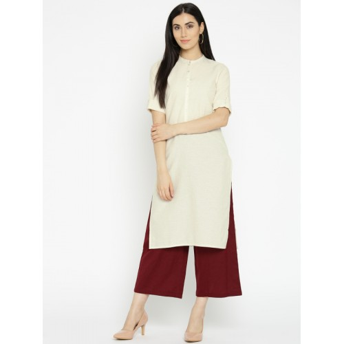 AURELIA Women Off-White Solid Straight Kurta