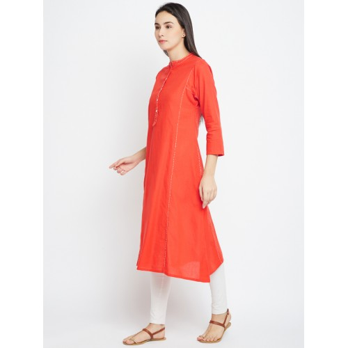 Biba Red Yarn Dyed Kurta