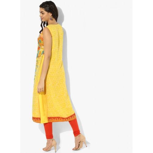 94bf7dc48 Buy Biba Yellow Printed Layered Straight Kurta online