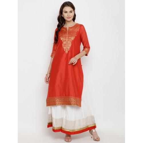 Biba Women Red Woven Design Straight Kurta