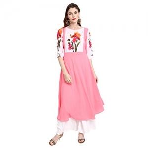 Janasya Pink Crepe A-Line Floral Print Kurta