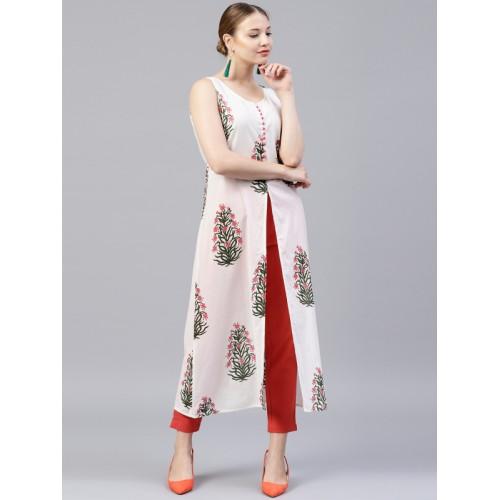 Jaipur Kurti White Printed Kurta with Trousers