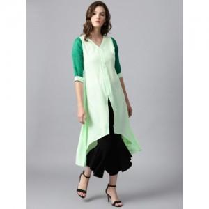 GERUA Women Green Solid A-Line Kurta