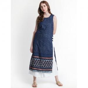 Rangmanch by Pantaloons Women Printed Straight Kurta(Blue)