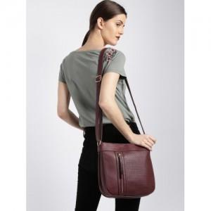 Mast & Harbour Burgundy Self Design Sling Bag