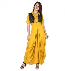 Yellow Rayon Slim Fit Casual Dhoti Style Kurti