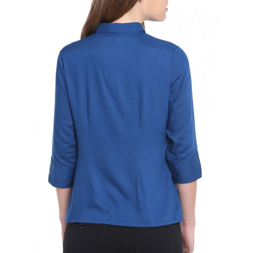 G J COUTURE blue solid shirt