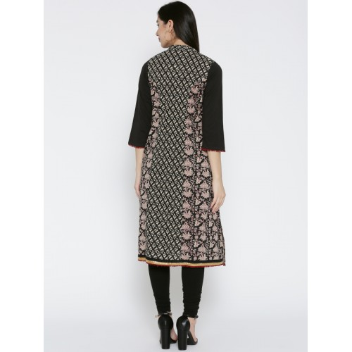 Rangriti Women Black & Beige Printed A-Line Kurta