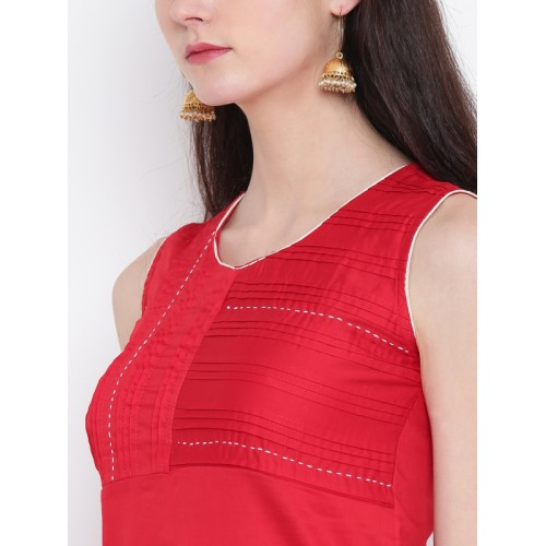 Rangriti Women Red Embroidered Detail Straight Kurta