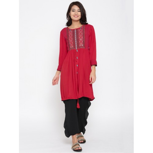 Rangriti Women Red Printed A-Line Kurta