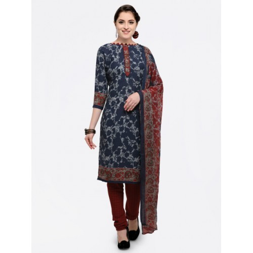 7af91d736d Buy Saree Mall Navy Blue Printed Dress Material online | Looksgud.in