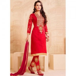 Blissta Red Embroidered Dress Material