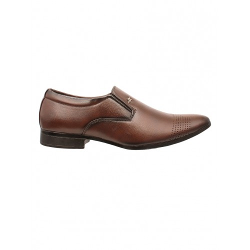 Shoe Island brown leatherette formal slip on