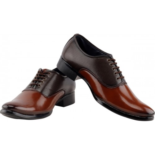 Smoky Trendy Brown Patent Leather Oxford Shoes For Men
