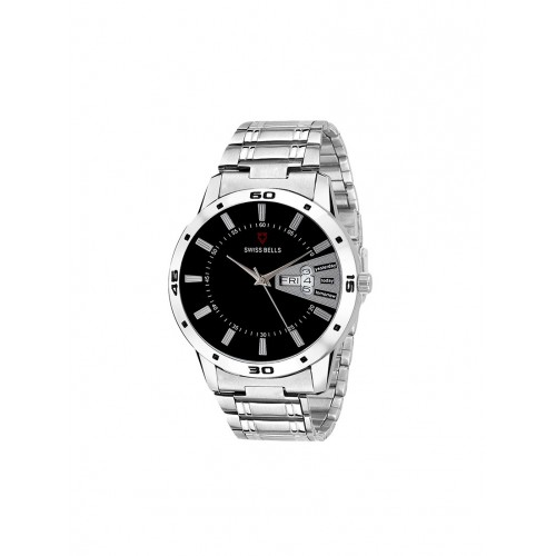 1663f5627625 ... Svviss Bells Black Dial Silver Steel Chain Day and Date Wrist Watch for  Men - SB ...
