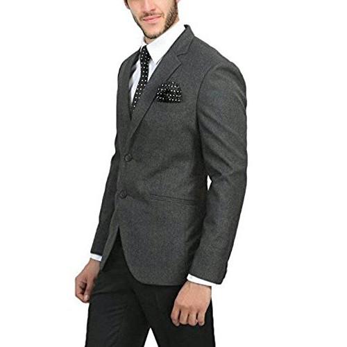 Bregeo Fashion Charcoal Grey Slim Fit Blazer