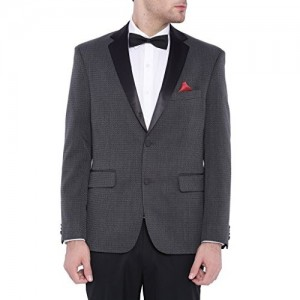 SUITLTD Grey Self design Regular fit Tuxedo Jacket