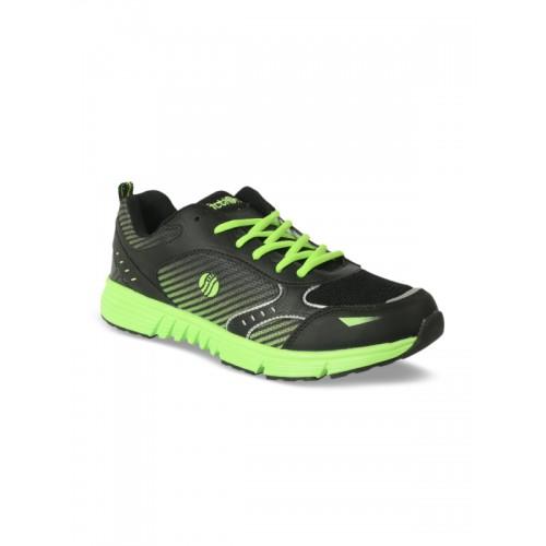 Action Men Black & Fluorescent Green Running Shoes