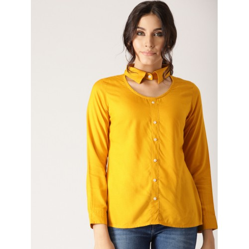 8dfda268efe7f9 Buy AKS Couture Women Mustard Yellow Solid Shirt Style Top online ...