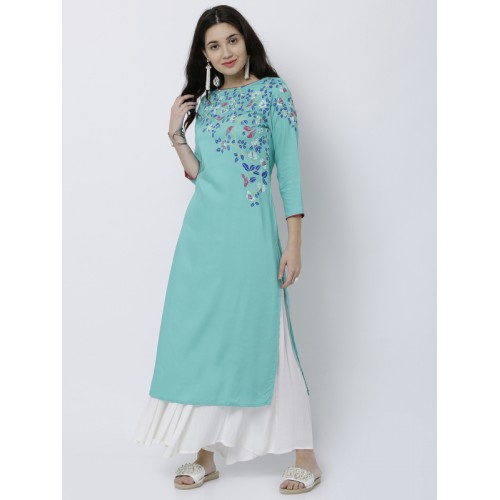 Vishudh Blue Printed Straight Kurta
