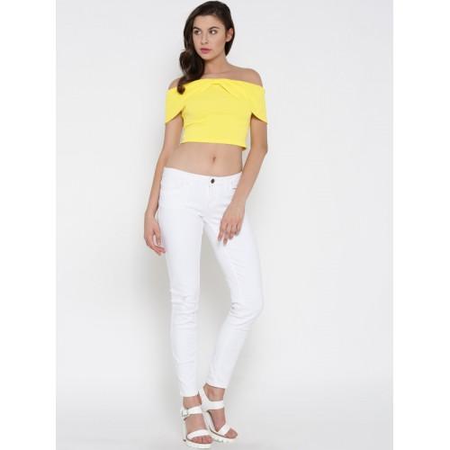 Veni Vidi Vici Casual Cap Sleeve Solid, Stylised, Self Design Women's Yellow Top