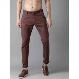 Moda Rapido Burgundy Cotton Slim Fit Solid Chinos