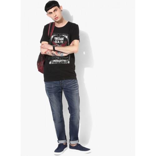 Jack & Jones Black Printed Slim Fit Round Neck T-Shirt