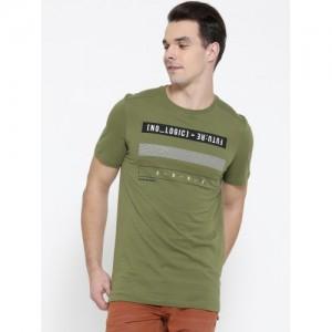 Jack & Jones Olive Printed Slim Fit Round Neck T-Shirt