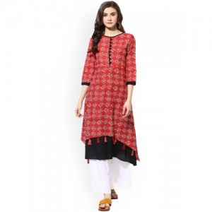 Mytri Red & Black Cotton Printed Double Layered Kurta