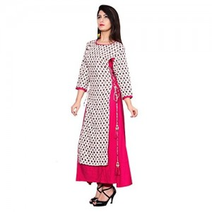 Metro Fashion White Cotton Double Layered Ankle Length Kurta