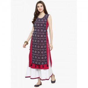 Azira Blue & Pink Printed Layered Kurta