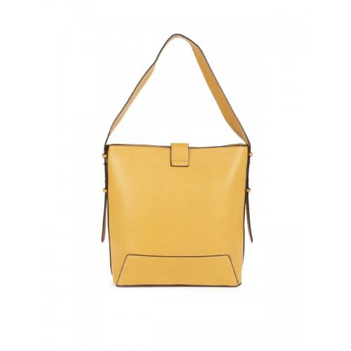 E2O Mustard Solid Hobo Bag