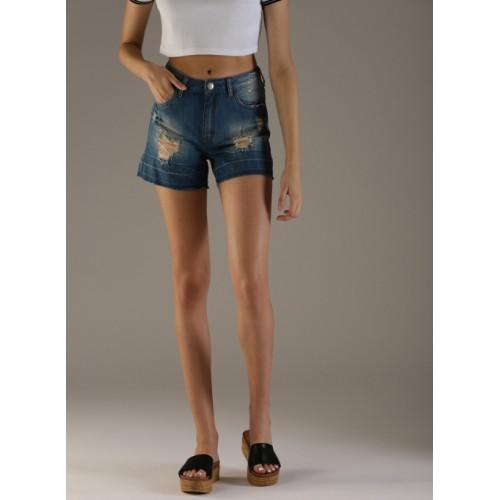 Flying Machine Blue Cotton Distressed Regular Fit Denim Shorts