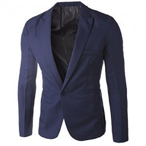 Hannea Casual Tailored Collar Single Button Solid Color Blazer for Men