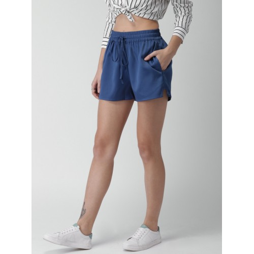 Mast & Harbour Women Blue Self Design Regular Fit Regular Shorts